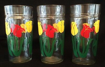 Vintage Swanky Swig Glasses Red Yellow Tulips Peanut Butter Juice Striated Rims