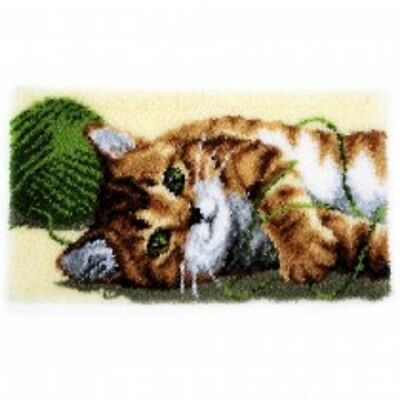 "Latch Hook Rug Kit""Playful Cat and Wool"" 70x40cm"