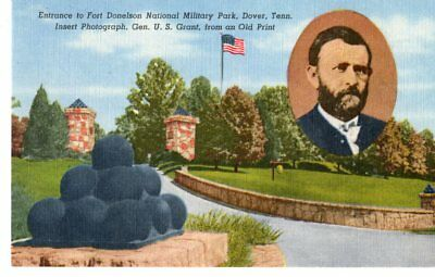 Dover, TN, Entrance to Fort Donelson National Park, Inset Photo Grant- Postcard