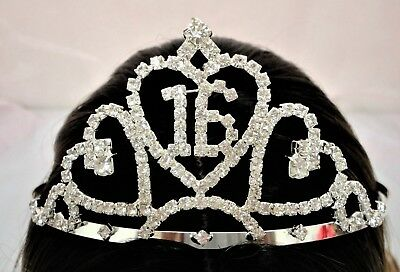 Sweet 16 Charmed Rhinestone Crown Sweet Sixteenth Birthday Tiara CH09-122-16
