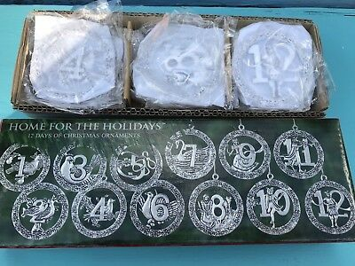 Home For The Holidays 12 Days Of Christmas Silver Plated Ornaments New In Box