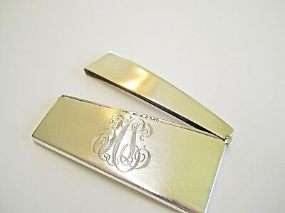 Early 1900's Sterling Monogram Engraved Calling Card Case Curved Rectangle
