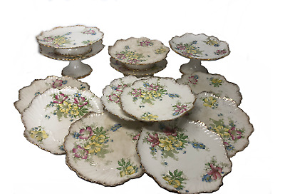Antique Frank Beardmore and Co. Fenton Louise Floral Plate and Cake Plate Set
