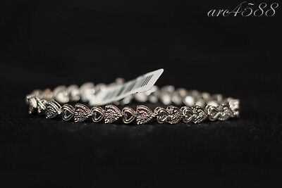 7.5 Inch 1/10 CT TW White Diamond Sterling Silver Link Bracelet NWT