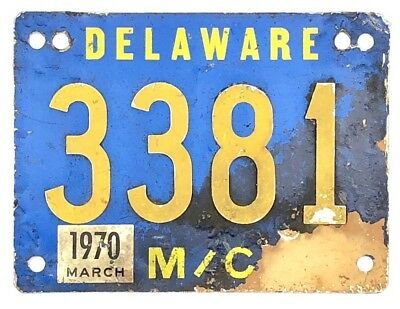 1970 Delaware MOTORCYCLE License Plate #3381 RIVETED NUMBERS