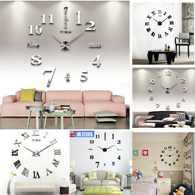 DIY 3D Wall Mounted Clock Extra Large Roman Numeral Clock Luxury 3 Designs Home