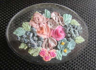 RETRO Clear Lucite brooch pin with flowers Antique vintage