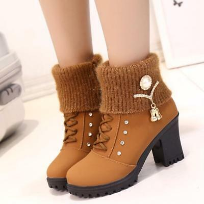 Fashion Womens Winter Warm High Heel Ankle boots Martin Snow Shoes