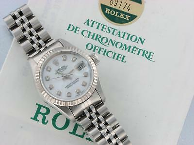 Rolex Datejust Ladies Automatic Watch 69174 With Papers Pearl Diamond Dial