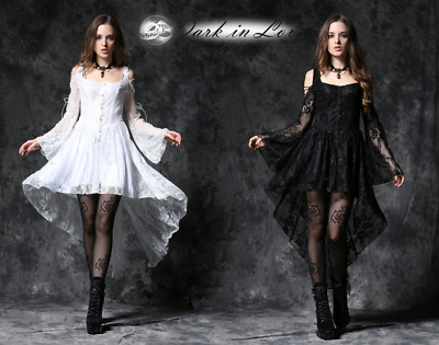 Dark in Love Royal Black White Floral Lace Victorian Dress for Gothic Punk Women