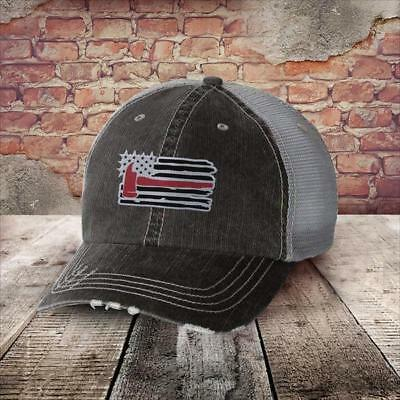 Printed Kicks Firefighter Flag Hat with Red Axe New #441