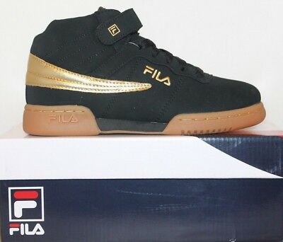 3a8b38aabaa Boys Girls Kids Fila F13 Mid High Top Casual Retro Basketball Shoes Black  Gold