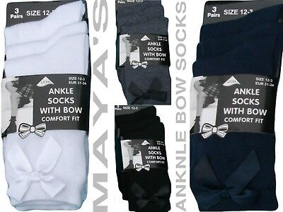 Girls Ankle Socks With Bow School Socks 3/6/12 Pairs~Good Price~Good Quality