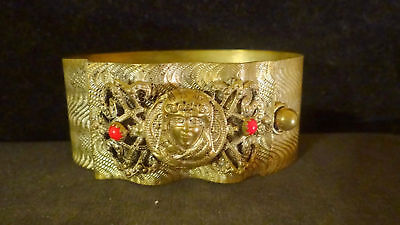 Rare Wide Chunky Vintage Gilt Brass Coral Figural Egyptian Revival Cuff Bracelet