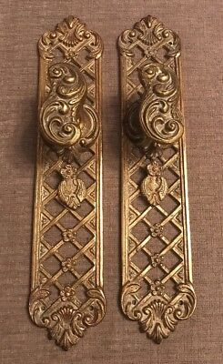 Lovely Pair Vintage Ornate Pierced Brass Door Handles w/Key Hole Cover