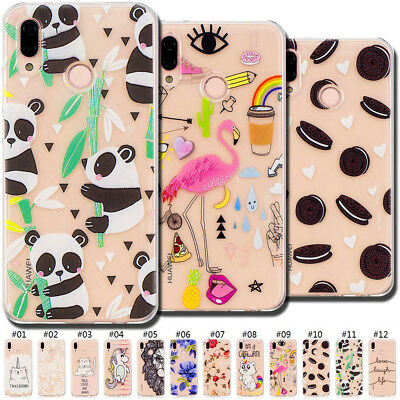 For Huawei P20 Lite/Nova 3E Cute TPU Case Cover Soft Back Clear Slim Rubber Skin