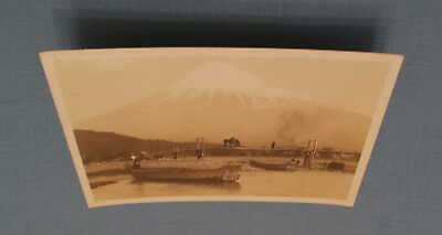 Japan Very Old Rppc Postcard Mt. Fuji, Boats, Foot Bridge - Not Mailed