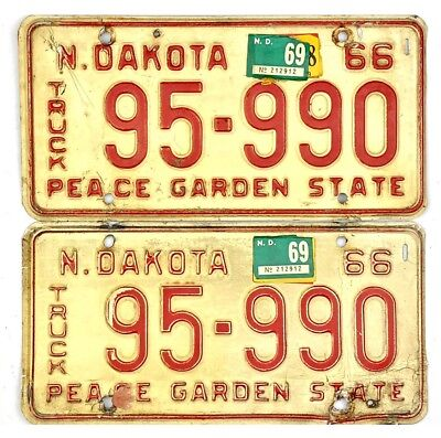 1966 North Dakota TRUCK License Plate PAIR #95-990 With Many Stickers