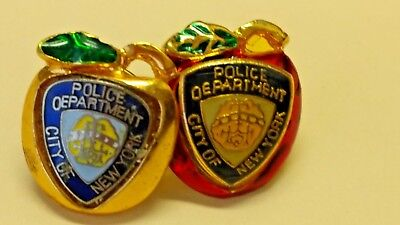 2 pins Big Apple NYC Vintage NYPD Lapel Pin New York City Police Department