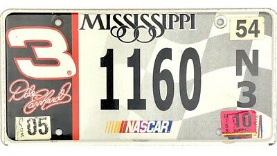2010 Mississippi NASCAR License Plate #1160 DALE EARNHARDT 3