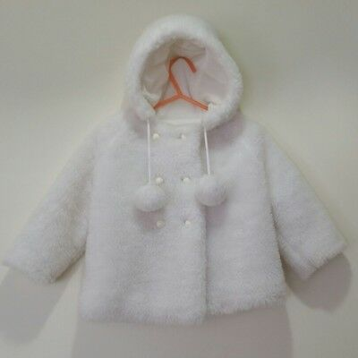 CELINA OF MELBOURNE Vintage Baby Faux Fur Peacoat Hooded Pom Poms 1960's Circa