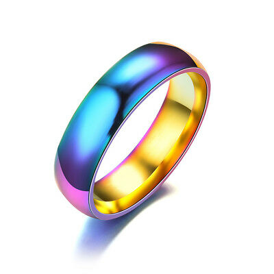 Women Men Ring Band Wedding Ring Fashion Rainbow Color Stainless Steel Colorful