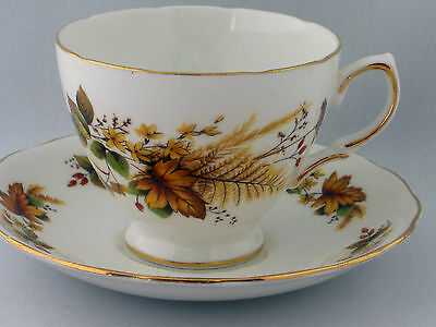 Vintage Royal Vale English Bone China cup and saucer  autumn leaves design