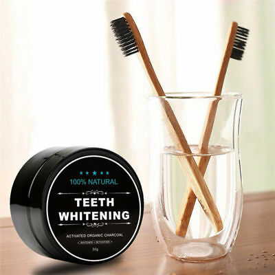 Activated Charcoal Coconut Teeth Whitening Powder Natural Carbon + Toothbrush