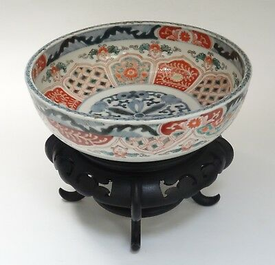 LARGE ANTIQUE 19c. MEIJI PERIOD JAPANESE IMARI BOWL with STAND ~8.5""