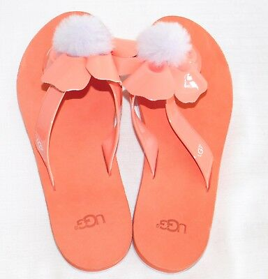 New Nwob Womens 8 Fusion Coral Ugg Poppy Faux Patent Leather Flip Flops Sandals