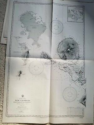 Old nautical map of Soloman Islands , NEW GEORGIA , VELLA VELLA to WANNA WANNA