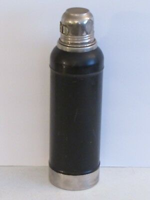 Vintage 1920's Black Stanley Super Vac Stainless Steel Unbreakable Thermos USA