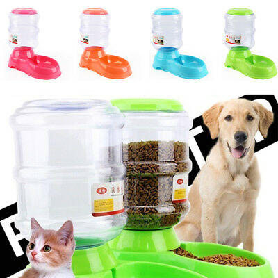 2 in1 Automatic Dispenser Pet Cat Dog Feeder Animal Food Bowl 3.5L AU