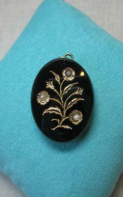 Antique Locket Black Onyx French Belle Epoque Victorian Napoleon III France 1860