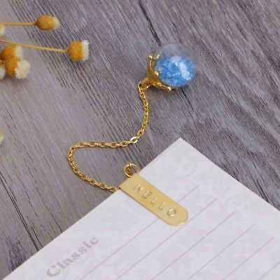1PC New Creative Metal Crystal Bookmark Gold Color Chain Pendant Book Markers