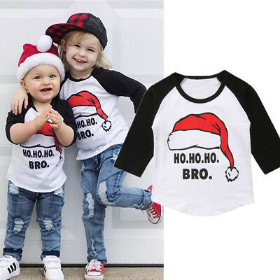 Toddler Kids Baby Boy Girls Clothes T-shirt Party Tops Outfits Christmas Cotton