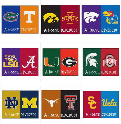 NCAA Team House Divided Mat Area Rug - 42 Teams - Choose Your College Team