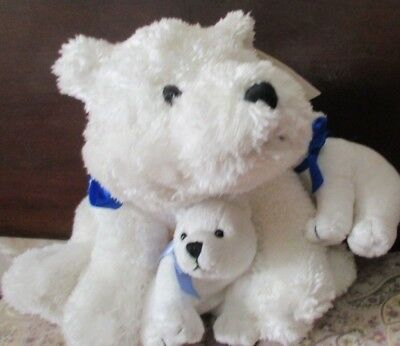 Plush Polar Bear Mom and 2 Baby Cubs- St. Jude's Hospital- New With Tags