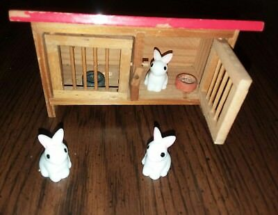 Lot of 3 miniature dollhouse bunny rabbits, crafts, Easter...