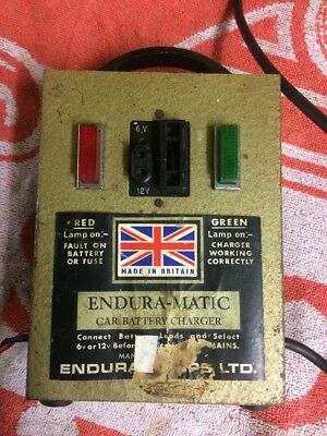 Vintage 6/12 Volt Car or Motorcycle Battery Charger Endura-Matic