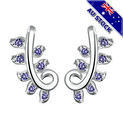 Classic 925 Sterling Silver Filled Blue Zirconia Crystal Leaf Stud Earrings Gift