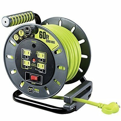 Masterplug 60ft Heavy Duty Extension Cord Open Reel with 4 120V/10 amp Outlets