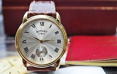 ROTARY QUARTZ ART DECO GENTS GOLD PLATED DRESS WATCH IN BOX c1995-RARE!