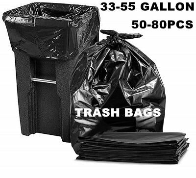 33/55 Gallon Trash Can Bags Thick Black Large Heavy Duty Garbage Bags 80X LOT VP