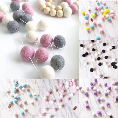 UK 30Pcs Wool Felt Pom Pom Ball Garland Nursery Baby Room Decor Wall Hanging 2m