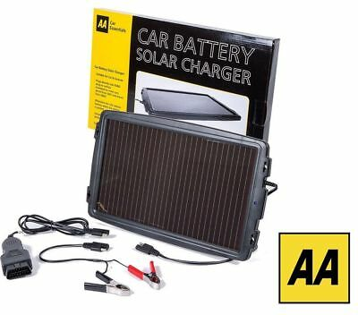 AA Car Essentials Solar Powered Battery Charger Car Van Caravan