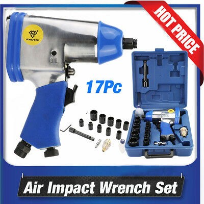 "New 17PC 1/2"" Air Impact Wrench Kit Rattle Gun Socket Tool Set Pneumatic Metric"
