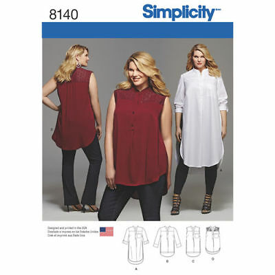Simplicity Sewing Pattern 8140 Womens 26W - 32W Shirt Length and Sleeve Options