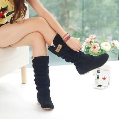 Fashion Womens Winter Warm Round Toe Flat Snow Boots Slip-On Shoes
