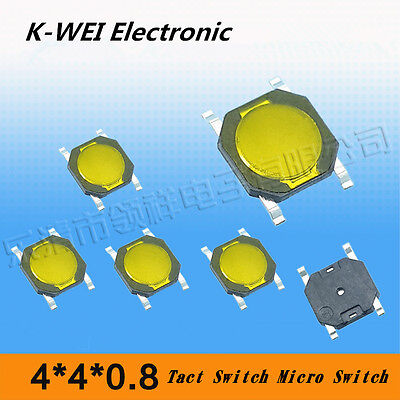 4*4*0.8 3*3*0.8 Tactile Push Button Switch Tact Switch Micro Switch 4-Pin SMD